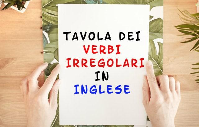 verbi irregolari in inglese